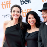 "(L-R) Angelina Jolie, Loung Ung, and Rithy Panh attend the World Premiere of Netflix's Film's ""First They Killed My Father"" during the Toronto International Film Festival at Princess of Wales Theatre on September 11, 2017 in Toronto, Canada."