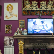 "Many of the items in this ""Crazy Cat Ladies"" living room display comes from collector and artist Mimi Levinson, who has a collection of more than 300 cat items. She's the mother of the exhibition curator, Lisa Levinson."