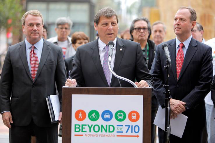 Glendale Mayor and  Metro Board Member Ara Najarian at a press conference discussing their alternative plan for the 710 Freeway on May 28, 2015 at downtown's Union Station.