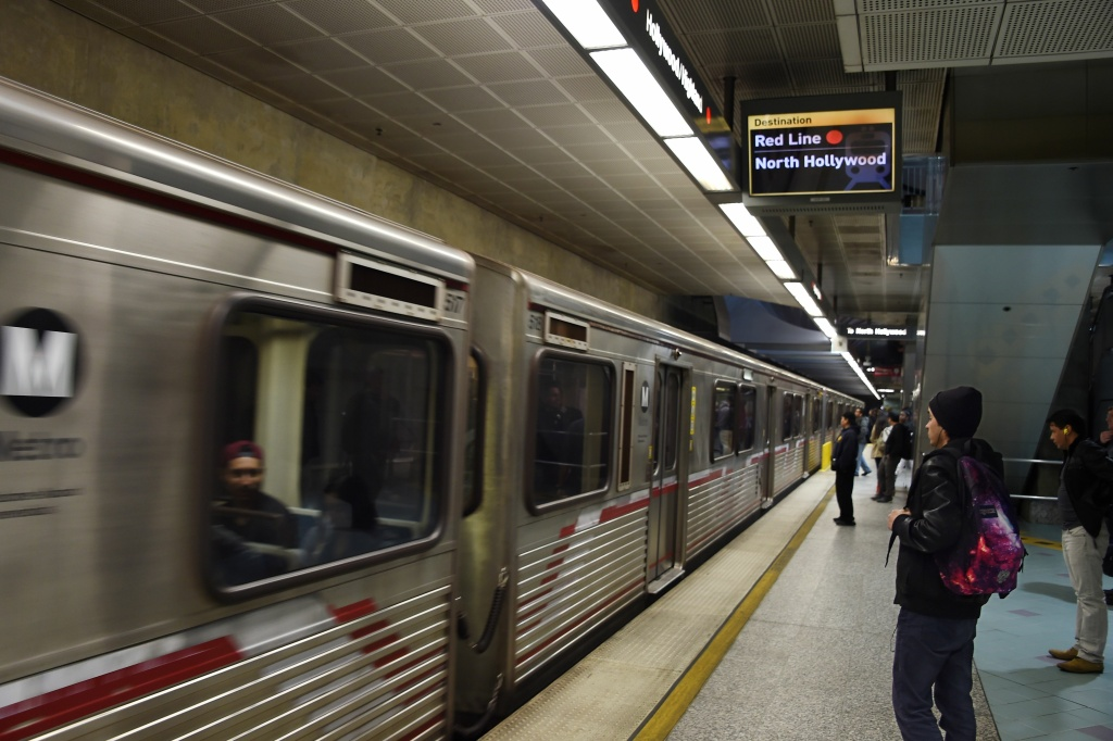 A train pulls into the station at the Universal City Metro train station on December 6, 2016.