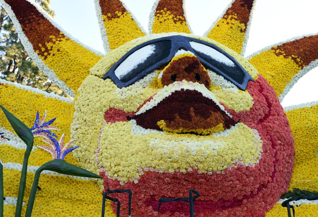 File: Details of a float participating in the 127th Rose Parade in Pasadena on Jan. 1, 2016.