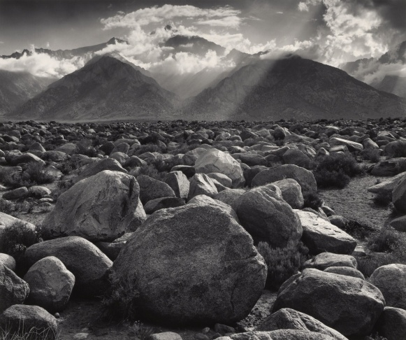 Mt. Williamson, Sierra Nevada, from Manzanar, California; Ansel Adams, American, 1902 - 1984; California, United States, North America; negative 1944; print 1981; Gelatin silver; Image: 39 x 46.4 cm (15 3/8 x 18 1/4 in.), Mount: 55.9 x 71.1 cm (22 x 28 in.); 2011.83.3