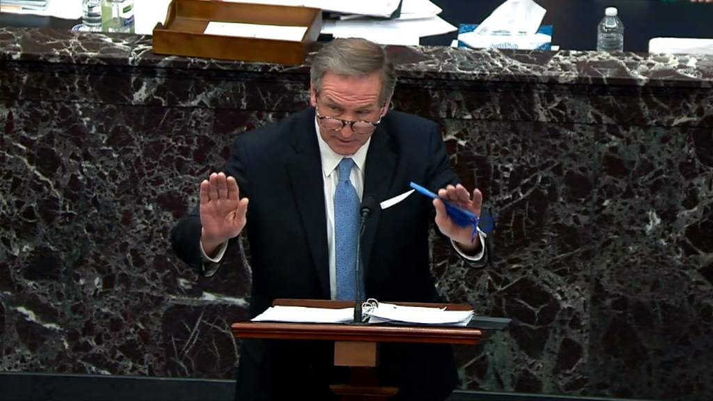 Michael van der Veen, defense lawyer for former President Donald Trump, gives closing arguments during Trump's second impeachment trial on February 13, 2021.