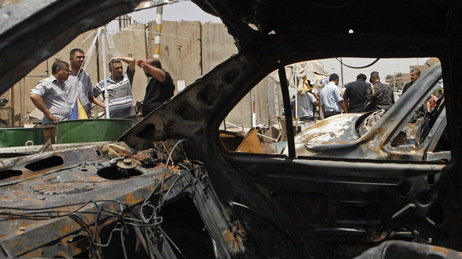 In Baghdad's Sadr City district, the view through a vehicle that was destroyed in one of the July 23, 2012 attacks.