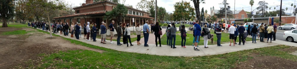 Early voters line up North Hollywood on the morning of Sunday, October 30, 2016.