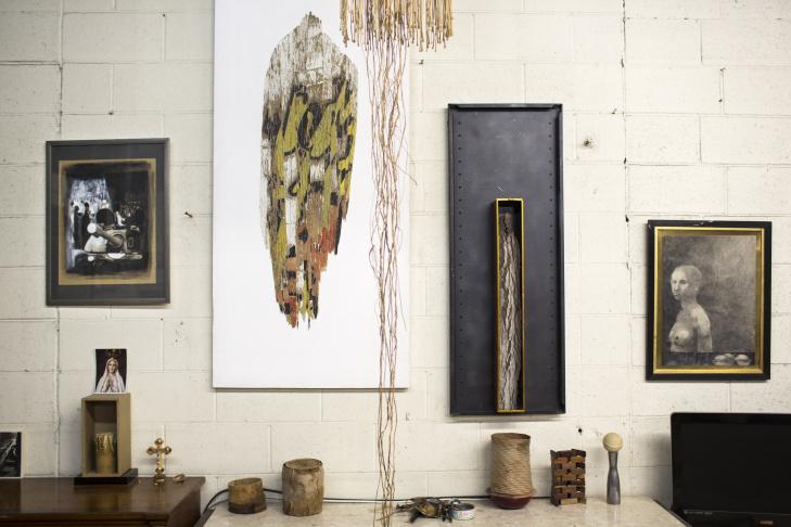 Artist Kenzi Shiokava has spent 22 years in a studio in Compton. His work is featured in the Hammer Museum's biennial exhibition,