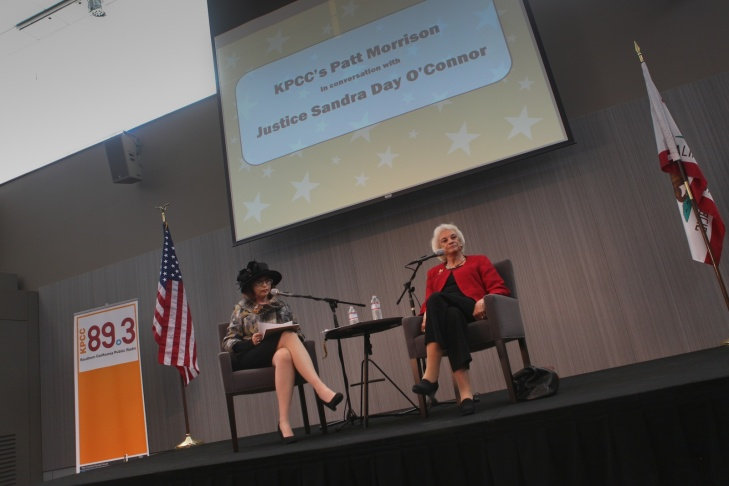 Patt Morrison interviews Justice Sandra Day O'Connor about her efforts to improve civics education on Dec. 11, 2011, in Southern California Public Radio's Crawford Family Forum.