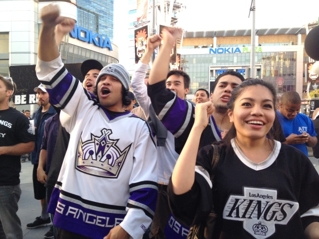 LAPD quickly emptied the plaza at LA Live when the Kings game began.