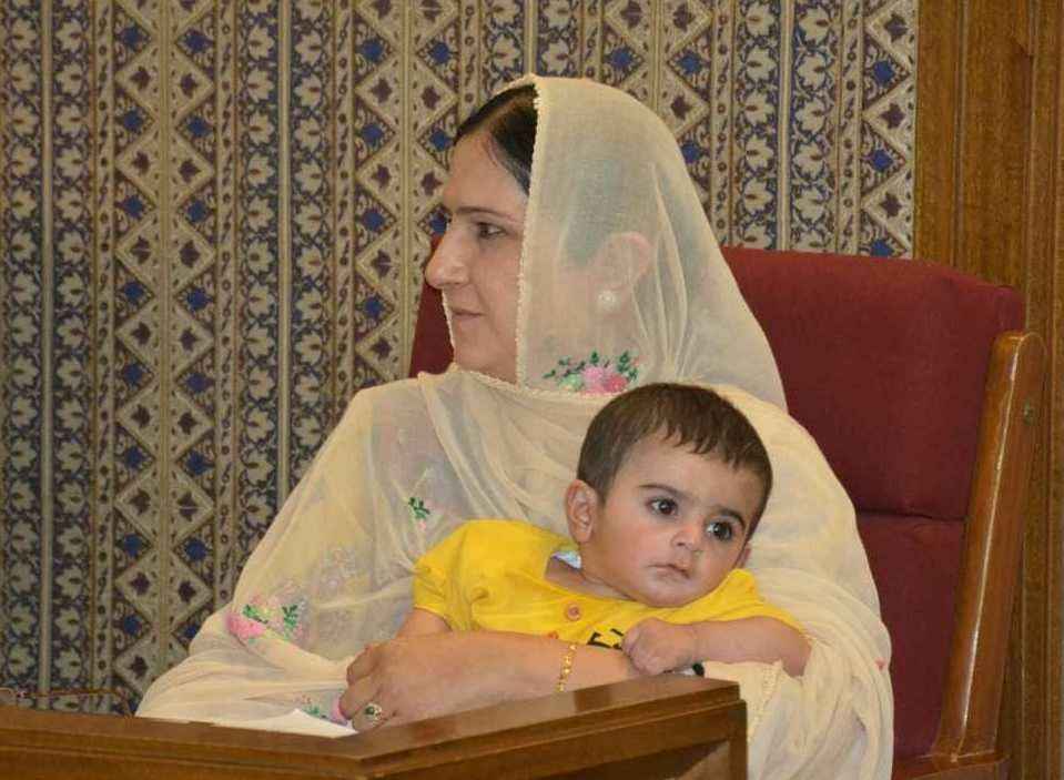Assemblywoman Mahjabeen Sheran on the day she brought her 8-month-old son to a session in Pakistan's Balochistan province. The secretary of the assembly said babies were against the rules.