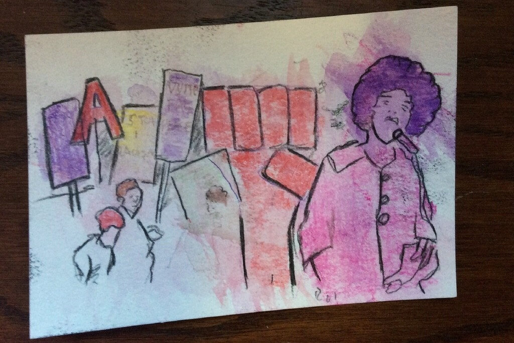 This image based on a photograph of Angela Davis was created by a three-year-old girl and her father at the January workshop focused on activism. The pair regularly attend story time at the public library.