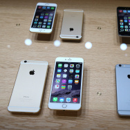 CUPERTINO, CA - SEPTEMBER 09:  The new iPhone 6 is displayed during an Apple special event at the Flint Center for the Performing Arts on September 9, 2014 in Cupertino, California. Apple unveiled the Apple Watch wearable tech and two new iPhones, the iPhone 6 and iPhone 6 Plus.  (Photo by Justin Sullivan/Getty Images)