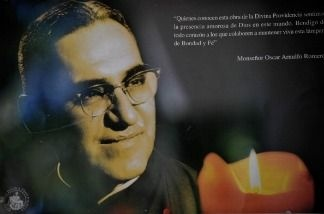 Picture of a banner with a portrait of Archbishop Oscar Arnulfo Romero taken at La Divina Providencia Chapel in San Salvador on March 21, 2011. San Salvador's Archbishop Oscar Arnulfo Romero was murder by a death squad on March 24, 1981 when he was given a mass at the this chapel. US President Barack Obama is to visit the tomb of Romero at the Metropolitan Cathedral during his visit to El Salvador on Tuesday and Wednesday on the final leg of his three-nation Latin America tour. The US president began the trip in Brazil, and is currently in Chile.