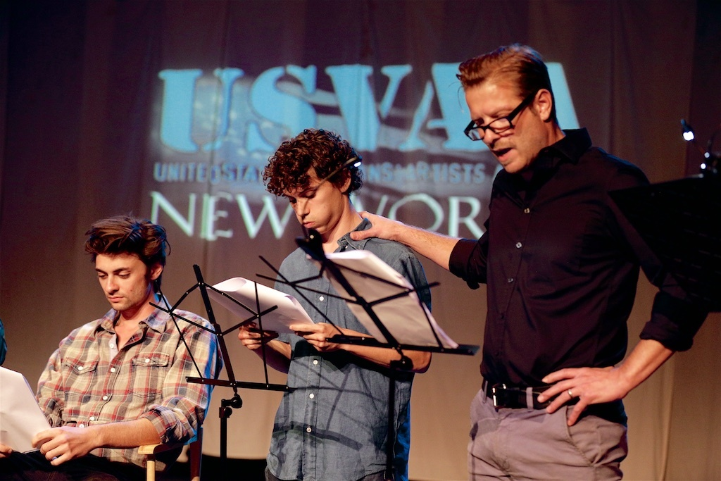 Christopher Sweeney (right) as Langford in Sky Pig at the U.S.  Veterans' Artists Alliance's New Works Presentation.