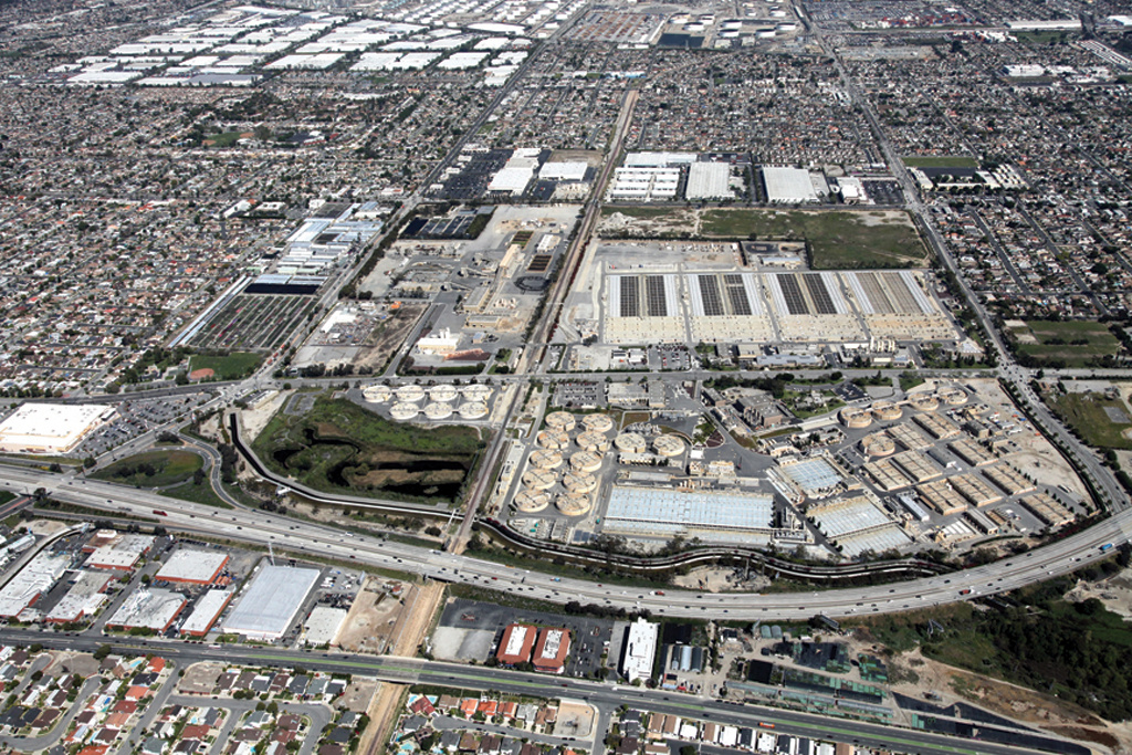 The Sanitation Districts of Los Angeles County operate a treatment plant in Carson, at sea level, where they're considering treating sewage water for reuse. The water would be pumped back uphill to foothill communities for injection into aquifers.