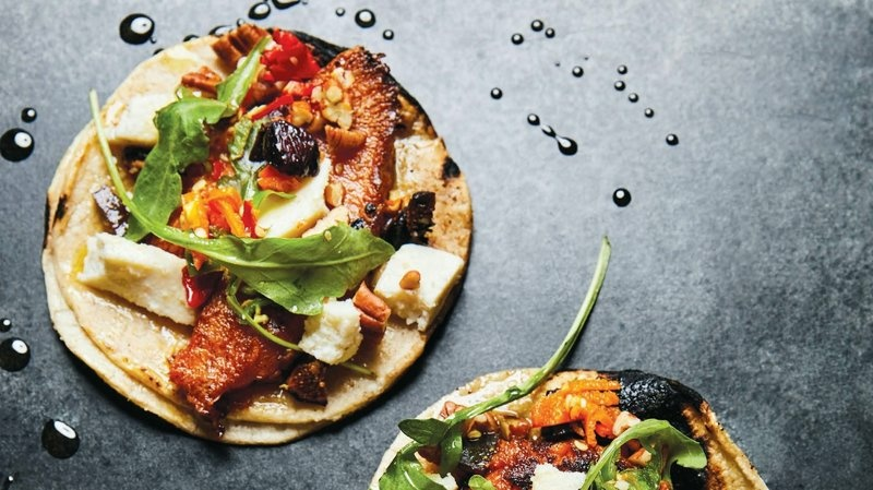 Roasted pumpkin tacos from chef Wes Avila's cookbook, Guerrilla Tacos.