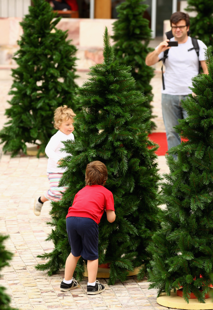 Visitors Make Their Way Through A Christmas Tree Installation On December 11 2017 In Melbourne