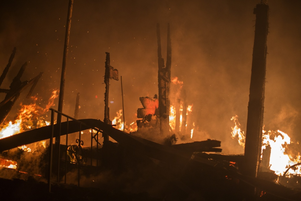 A structure burns in the early morning hours on October 14, 2017 in Sonoma, California.