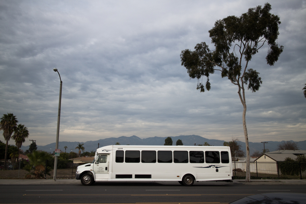 This unmarked bus is typical of the ones that would pick up passengers in San Gabriel and other nearby communities to take them to area casinos.
