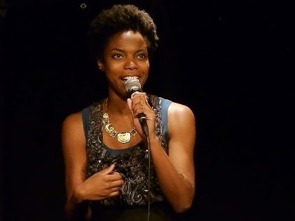 Sasheer Zamata in a comedy performance on YouTube.