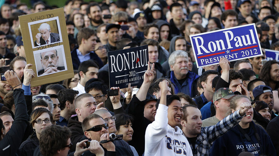 The crowd reacts as Rep. Ron Paul, R-Texas, speaks at the University of California at Berkeley on April 5.