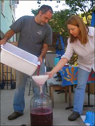 Heather and Joe make wine.