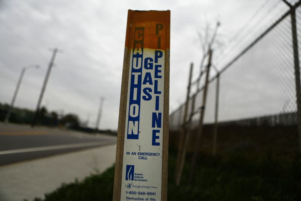 A natural gas pipeline warning sign in California.