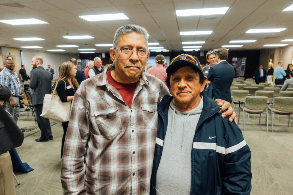 Army veterans Raul Aguiar (right) and Arthur Gonzales (left) both served in Vietnam. They attended a hearing on the Principal Developer search for the West LA VA Campus to voice concerns about the relocation of the PTSD clinic in Building 256 they rely on for care.