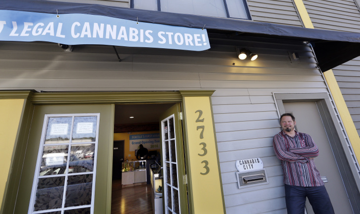 Customers shop for marijuana at Top Shelf Cannabis, a retail marijuana store, on July 8, 2014 in Bellingham, Washington. Top Shelf Cannabis was the first retail marijuana store to open today in Washington state, nearly a year and a half after the state's voters chose to legalize marijuana.
