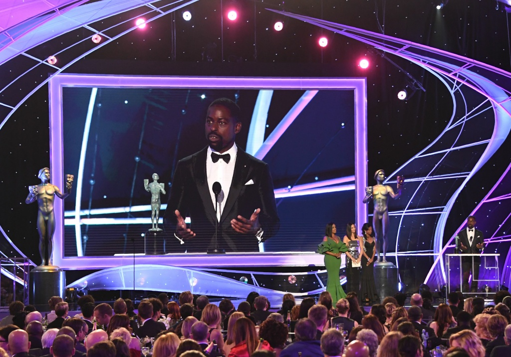 Sterling K. Brown accepts the Outstanding Performance by a Male Actor in a Drama Series award for 'This Is Us' onstage during the 24th Annual Screen Actors Guild Awards show at The Shrine Auditorium on January 21, 2018 in Los Angeles, California.
