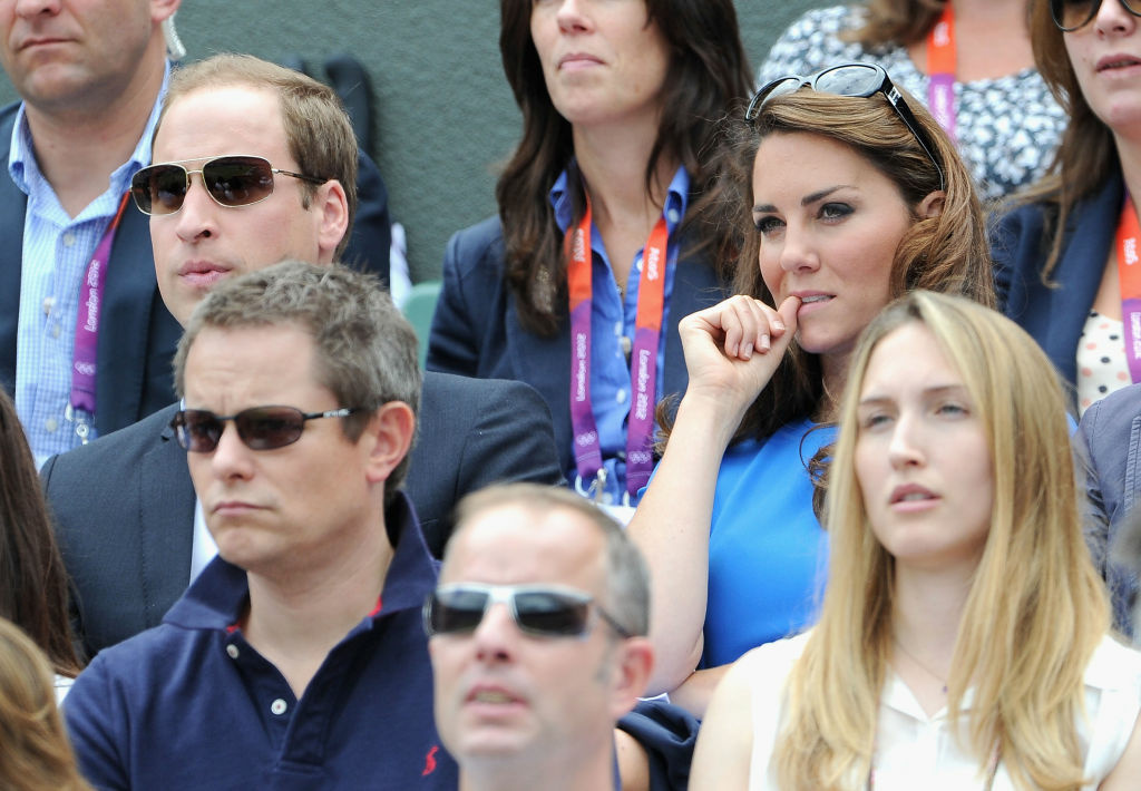 Prince William, Duke of Cambridge and Catherine, Duchess of Cambridge during the match between Andy Murray of Great Britain and Nicolas Almagro of Spain in the Quarterfinal of Men's Singles Tennis on Day 6 of the London 2012 Olympic Games at Wimbledon on August 2, 2012 in London, England.