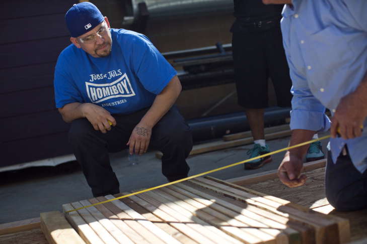 Pedro Mata of Homeboy Industries takes part in a seven-week construction class at Los Angeles Trade Tech College on Monday, April 13, 2015. The course combines hands-on construction training, math, blueprint reading and labor union studies.