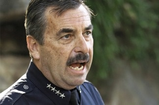 LAPD Chief Charlie Beck takes questions about the false police report filed by school police officer Jeff Stenroos, during a news conference at the Los Angeles Police Academy on Jan. 28, 2011.
