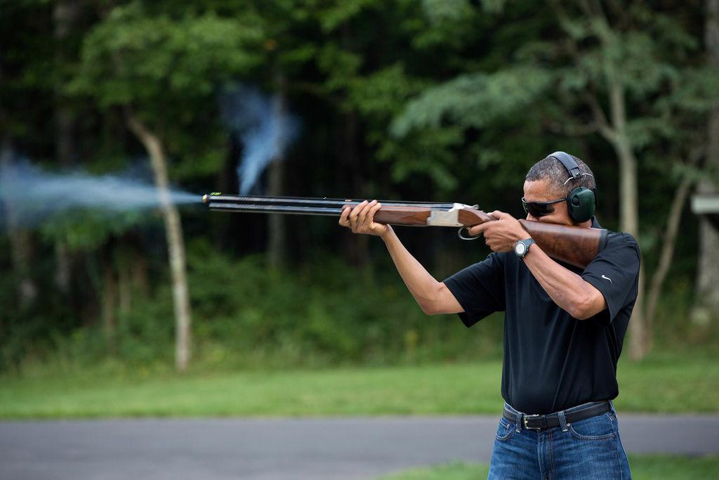 President Barack Obama firing at skeet at Camp David in August, 2012.