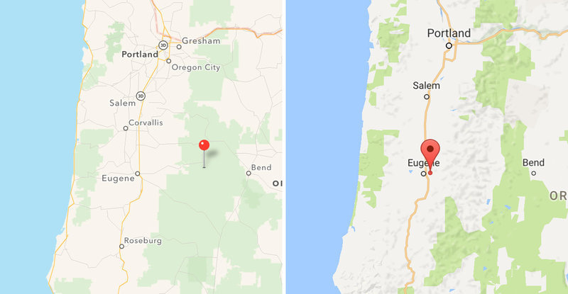 Apple (left) and Google screenshots of the Willamette National Forest. The pins in each image indicate where each app says the forest is located, when searched. Apple & Google/Screenshots by NPR