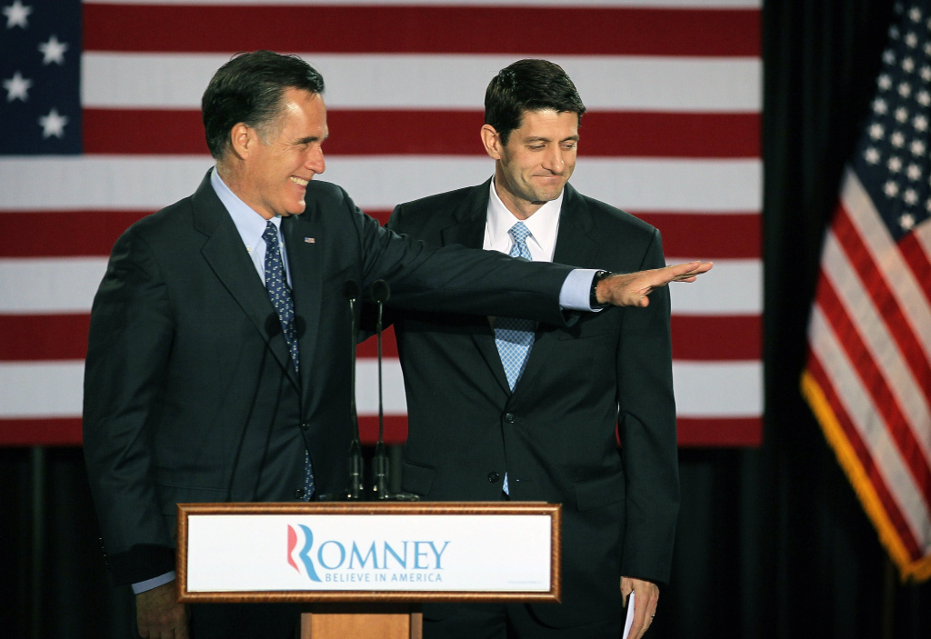MILWAUKEE, WI - APRIL 03:  Republican presidential candidate, former Massachusetts Governor Mitt Romney (L) and his choice for running mate, Wisconsin Congressman Paul Ryan.   (Photo by Scott Olson/Getty Images)