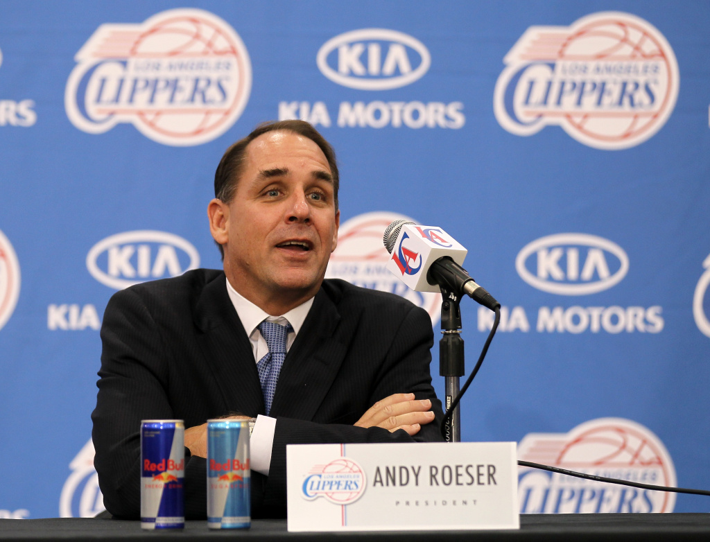 Team president Andy Roeser speaks at a press conference introducing Chris Paul as a member of the Los Angeles Clippers on Dec. 15, 2011 at the Los Angeles Clippers Training Center in Playa Vista, California.