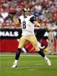 Quarterback Sam Bradford #8 of the St. Louis Rams looks to pass.