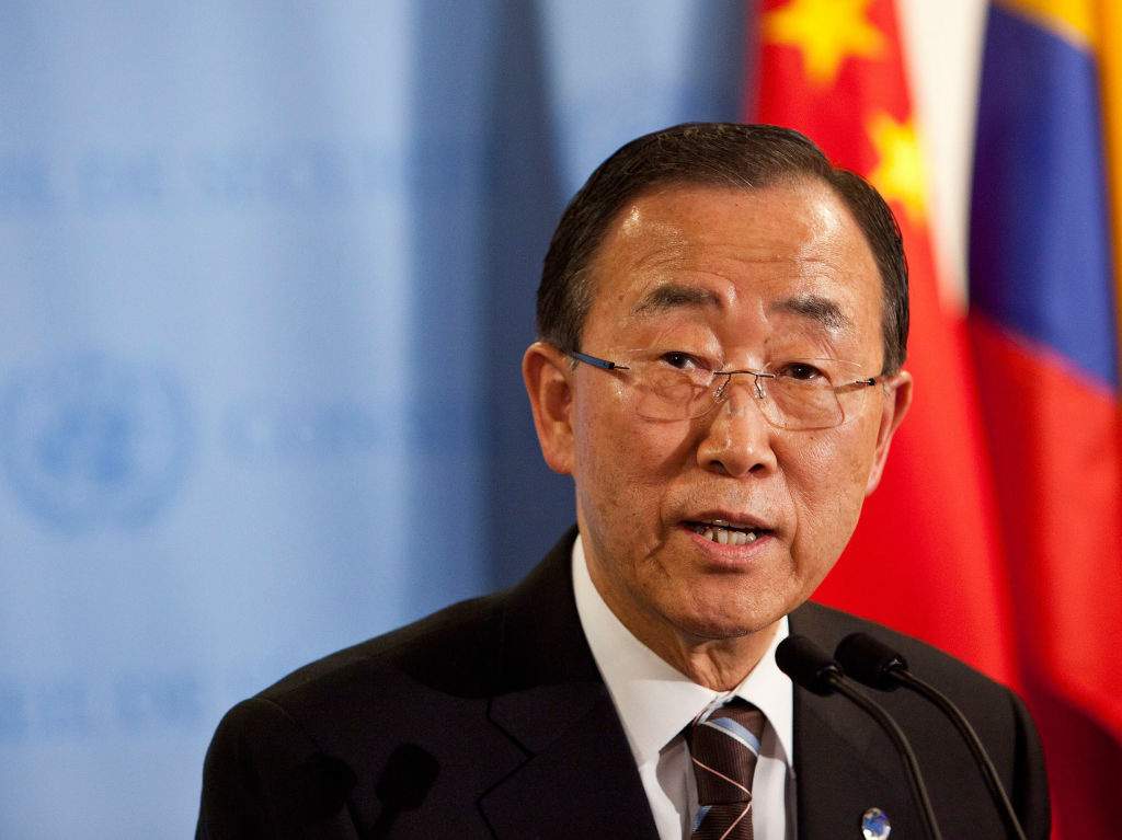 United Nations Secretary-General Ban Ki-moon speaks during a news conference on June 7 at the United Nations headquarters in New York City.