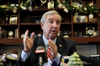 Los Angeles District Attorney Steve Cooley speaks to media at a news conference on Dec. 1, 2010. Cooley lost the race for California attorney general.
