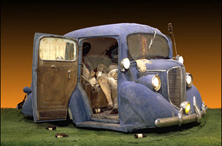 Edward Kienholz's Backseat Dodge '38 (1964), part of LACMA's new show of contemporary art from the '60s and '70s. The LA County Supervisors threatened to close LACMA when this piece was first shown!