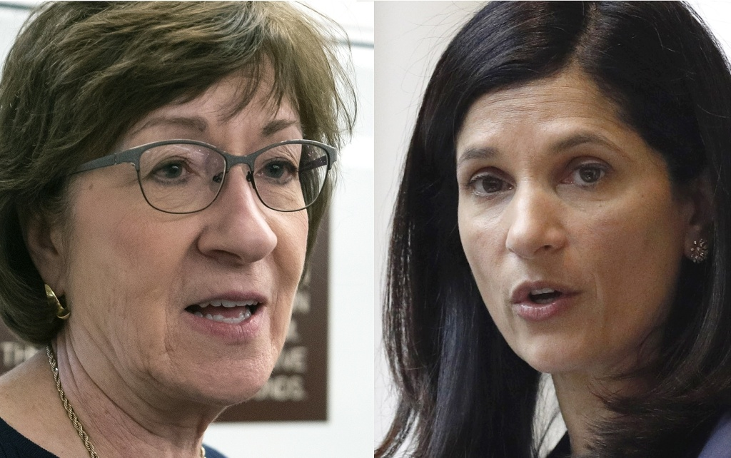 Republican Maine Sen. Susan Collins, left, faces a tough challenge from Democratic Maine House Speaker Sara Gideon.