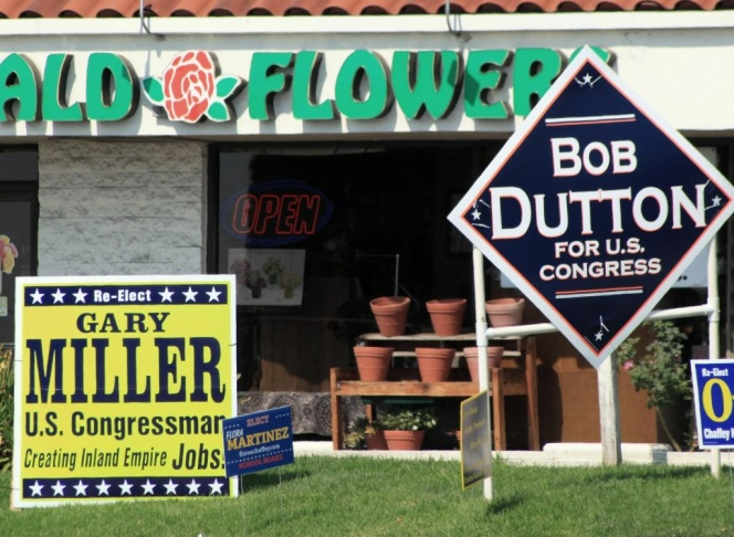 Rancho Cucamonga and other Inland cities are awash with campaign sings for 31st Congressional candidates Bob Dutton and Gary Miller.