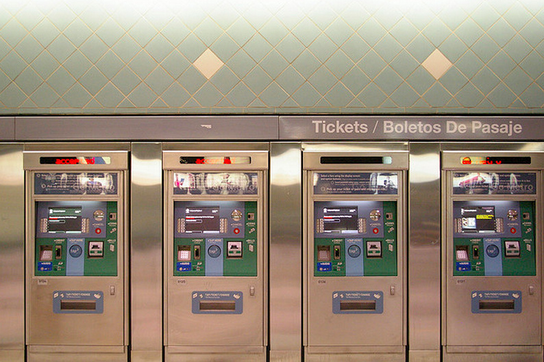 Metro ticket machines at the Hollywood/Highland station in Los Angeles, CA.
