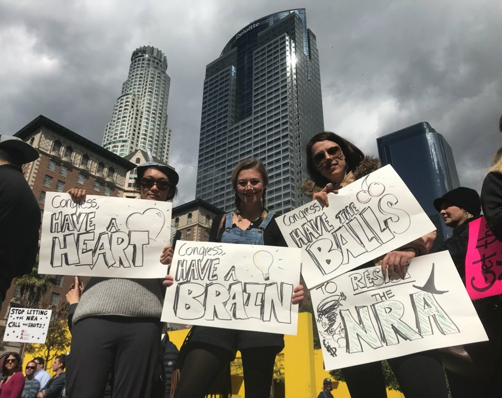 A Parkland shooting protest in downtown Los Angeles Monday brought out three friends asking Congress to act on gun control.