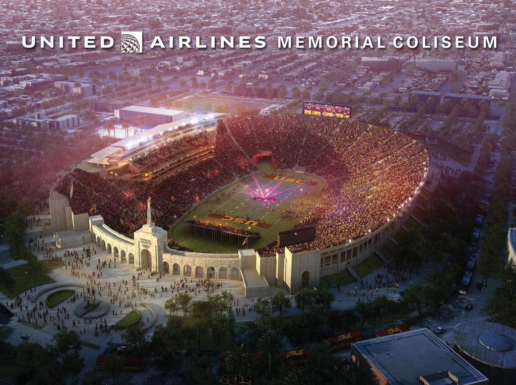 A bird's eye view rendering of the renovated Coliseum.