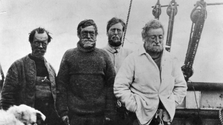 From left: Frank Wild, Ernest Shackleton, Dr. Eric Marshall and Jameson Adams head back to base camp after getting within 97 miles of the South Pole — closer than anyone had gotten before them — Â in January 1909.