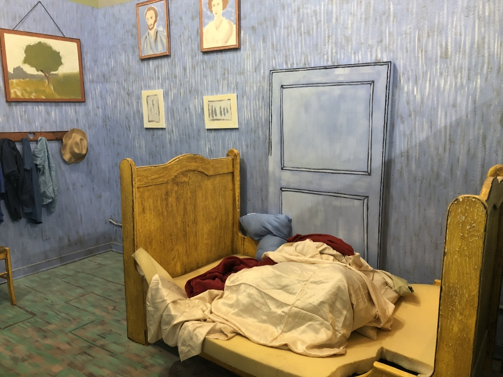 A room designed to resemble Van Gogh's bedroom at the Museum of Selfies.