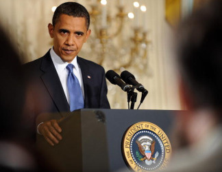 President Barack Obama speaks during a press conference May 27, 2010 in the East Room of the White House in Washington, DC.The US government gave the go ahead Thursday for a plan to build a barrier island to stop oil from coming ashore in a section of Louisiana. President Obama defended the time it took for his administration to approve a plan that has been insistently put forward by Louisiana's Republican governor, Bobby Jindal.