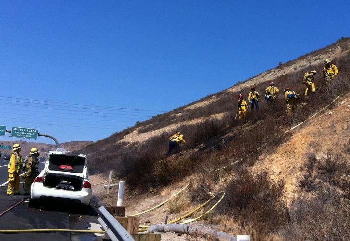 A roadside fire.