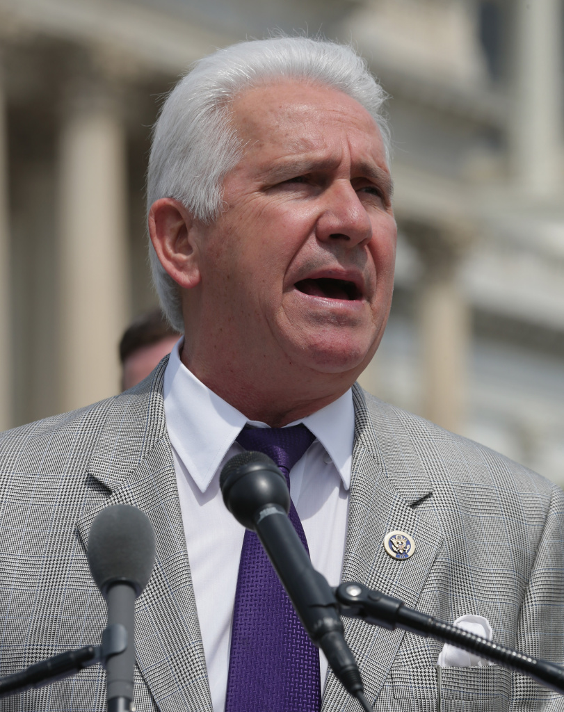 File: U.S. Rep. Jim Costa (D-CA) speaks during a news conference with a bipartisan group of House members outside the U.S. Capitol May 20, 2014 in Washington, DC. U.S. Costa has narrowly avoided one of the biggest upsets of the midterm elections, edging out his Republican challenger, dairy farmer Johnny Tacherra.